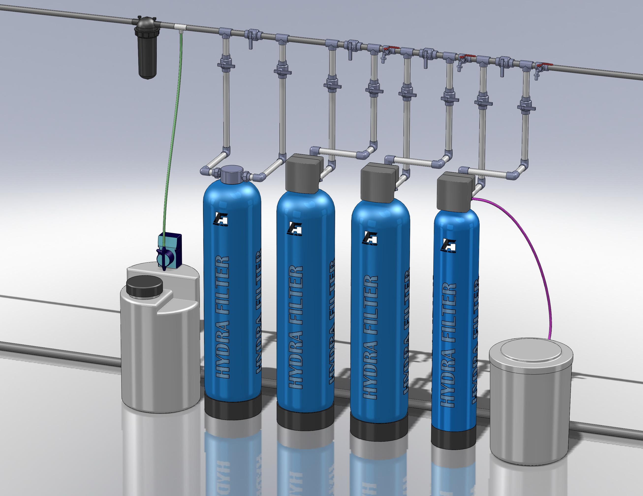 Водоподготовка для коттеджа #3. 1200 л/час (2-3 одновременно открытых крана) Растворенное железо до 6-7 мг/л, жесткость до 10